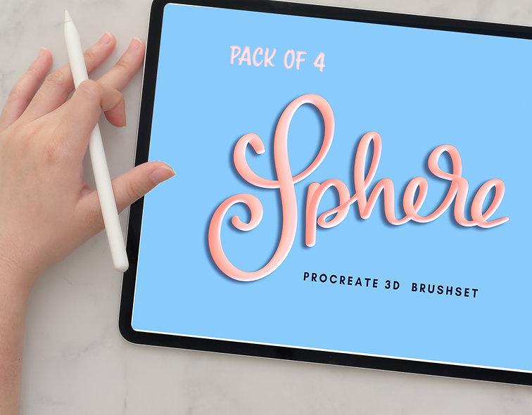 3D Procreate Brushes | Sphere Brushpack for iPad Lettering