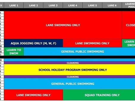 School Holidays Pool Timetable