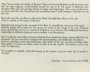 Writings from Paul Klee accompanying the drawing