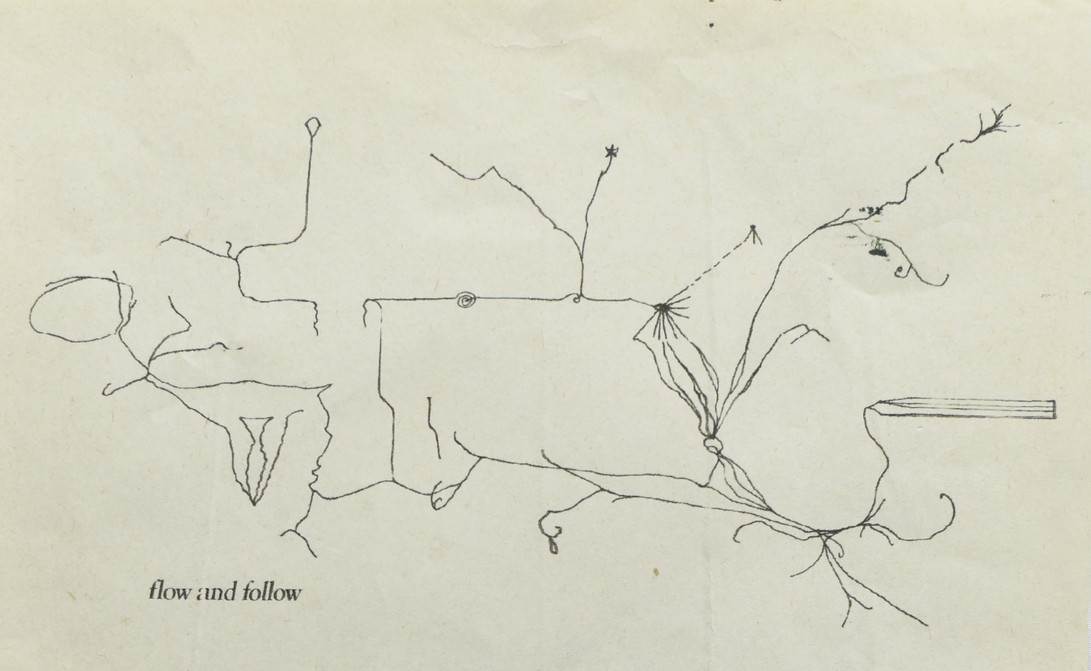 Drawing of the installation at Freerange accomppanied by a Paul Klee Writing