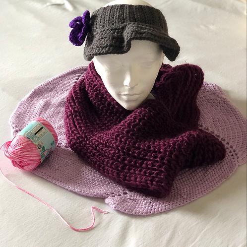 Purple Crochet Scarf, Cloth, and Headpiece