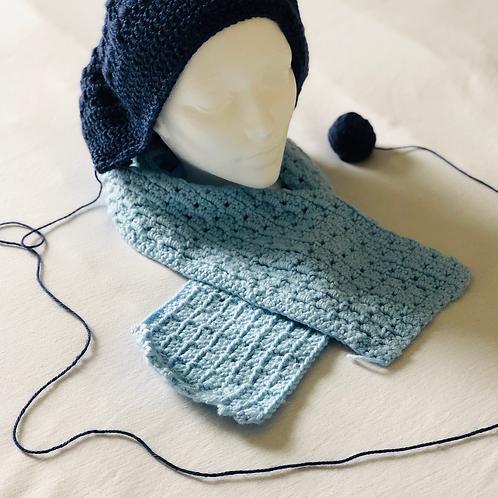Blue Crochet Beanie w/ scarf