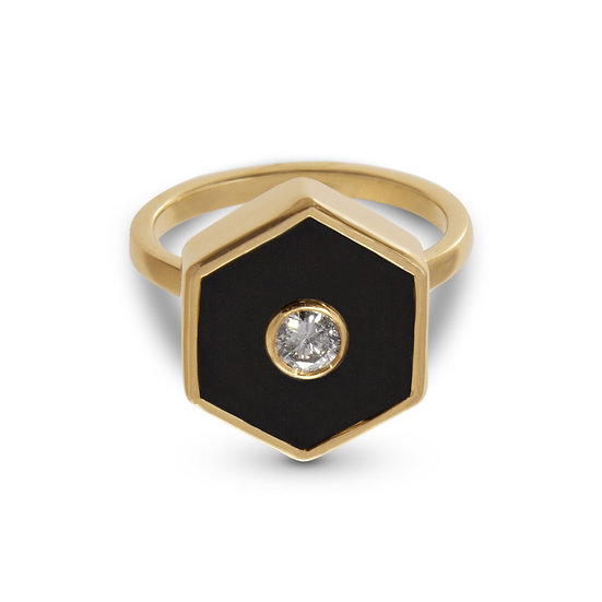 Diamond and Black Onyx Hexagonal Europa Ring