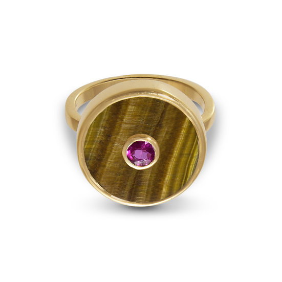 Ruby and Tiger's Eye Europa Ring