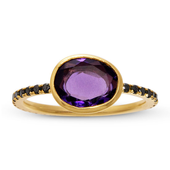 Amethyst and Black Diamond Clea Ring