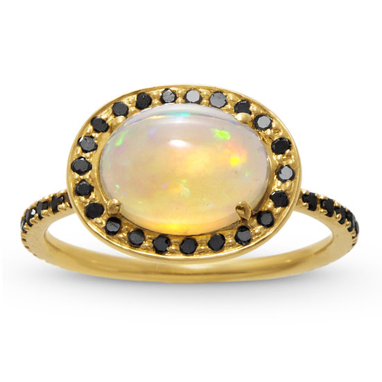 Opal and Black Diamond Delilah Ring