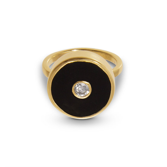 Diamond and Black Onyx Europa Ring
