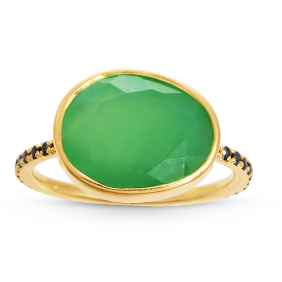 Chrysoprase and Black Diamond Clea Ring