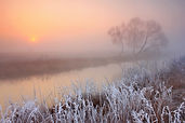 Misty morning with frost on the river in
