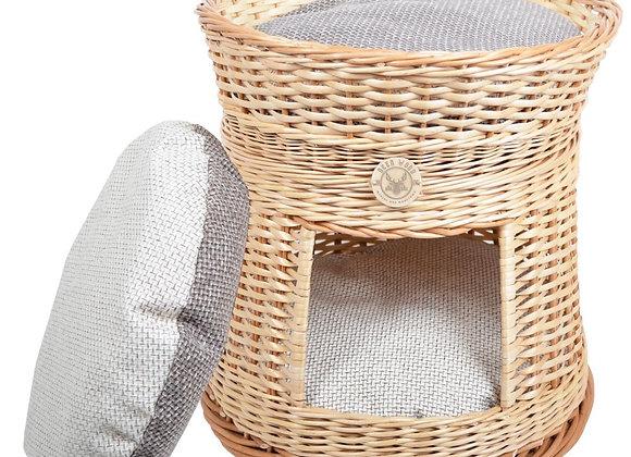 Плетеный домик круглый с лежанкой для животных 50*49 см, двусторонние подушки