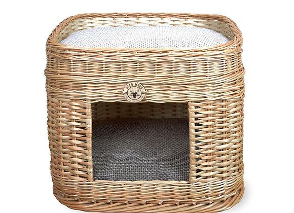 Плетеный домик овальный с лежанкой для животных 50*40*47 см