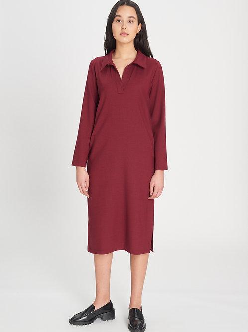 Collar Dress berry red