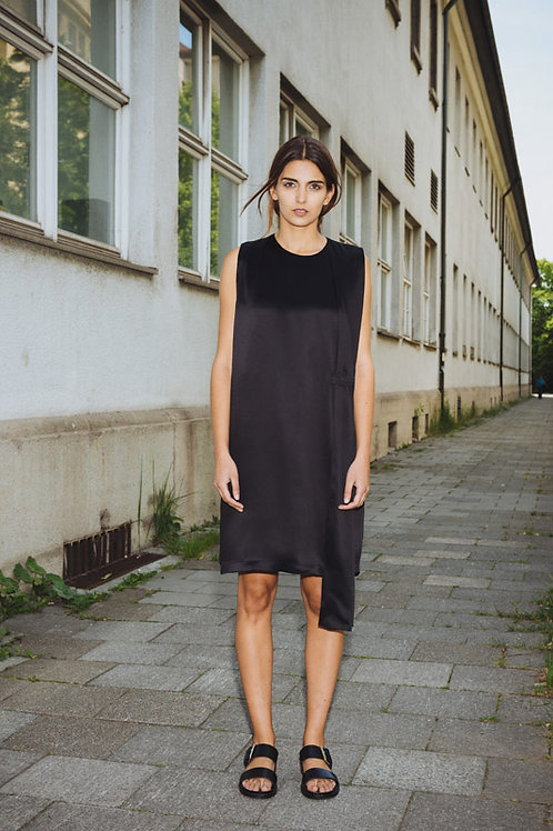 Black Dress with asymmetrical Panel