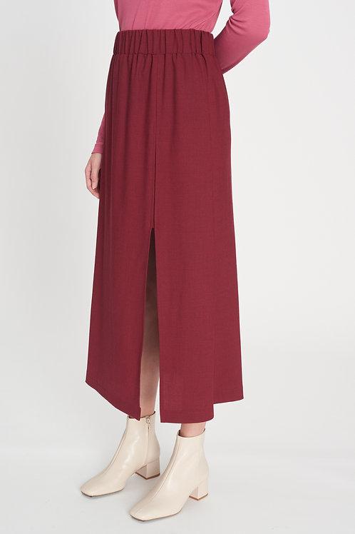 Slit Skirt berry red