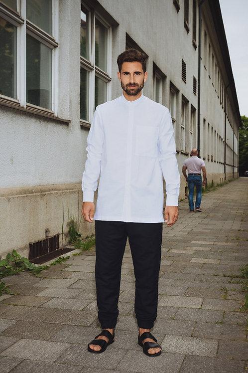 White Chinese Collar Shirt