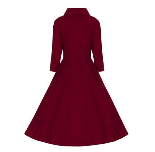 09cdb961f9 Tmavě červené sametové šaty s 3 4 rukávem