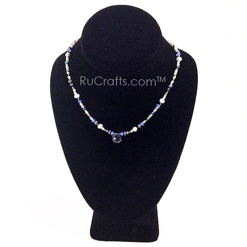Pearl and Crystal Glass Bead Necklace