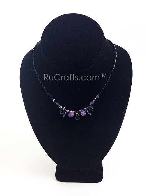 Fushsia toned Pearl and Crystal Necklace