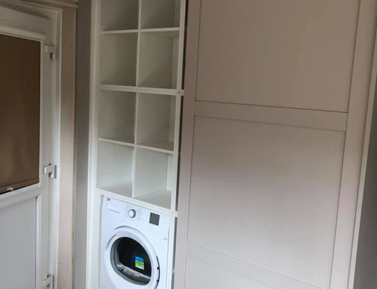 Space saving cupboard fully fitted.