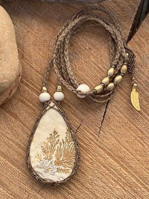 Sensaina Dendritic Limestone Empowering Macrame Jewel