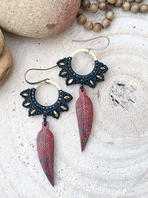 Picasso Jasper Carved Feathers Micromacrame Earrings