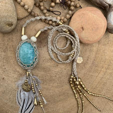 Necklace with Amazonite Dharmacrame