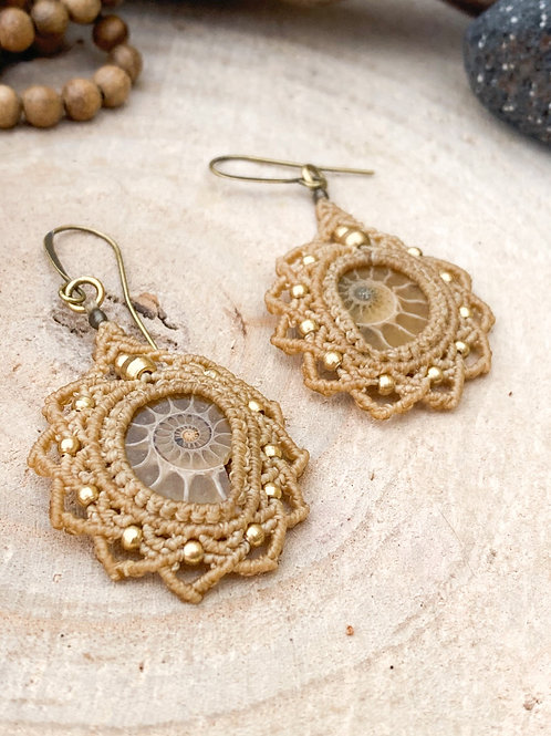 Ammonite Earrings Micromacrame