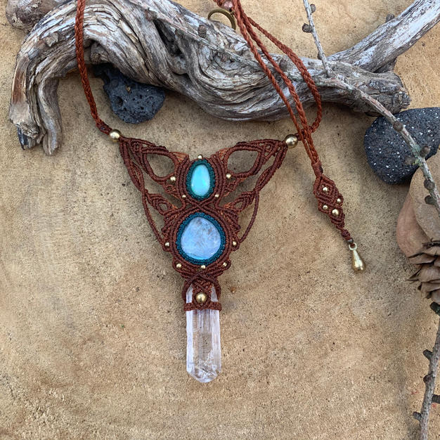 Necklace with Danburite Rainbow Moonstone and Fire Opal Dharmacrame