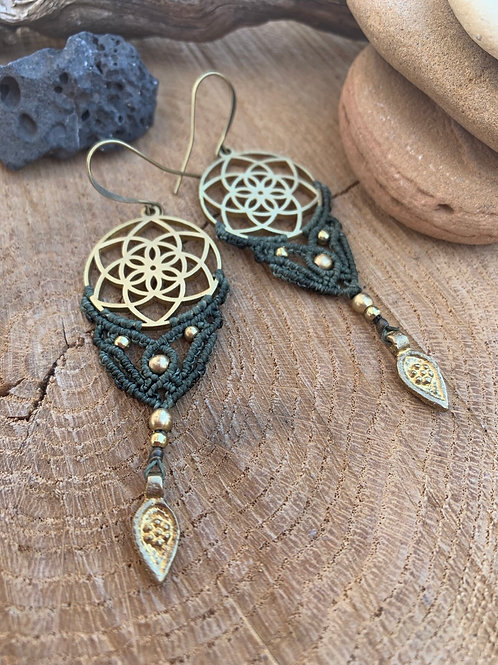 Seed of Life Earrings Macrame