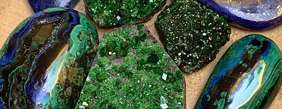 Azurite, Uvarovite, Lapis Lazuli