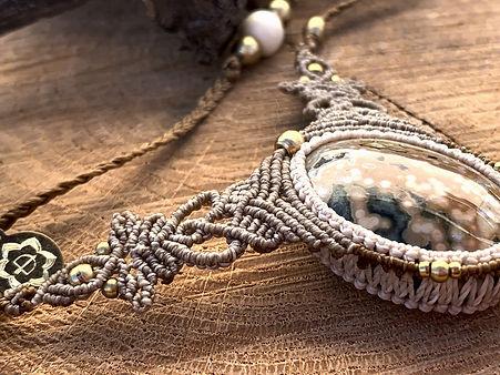Ocean Jasper Micro Macrame Necklace
