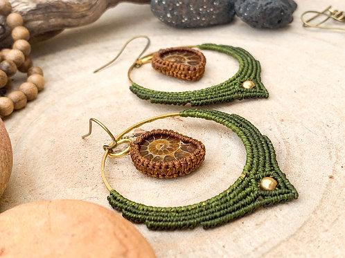 Ammonite Earrings Hoop Micromacrame