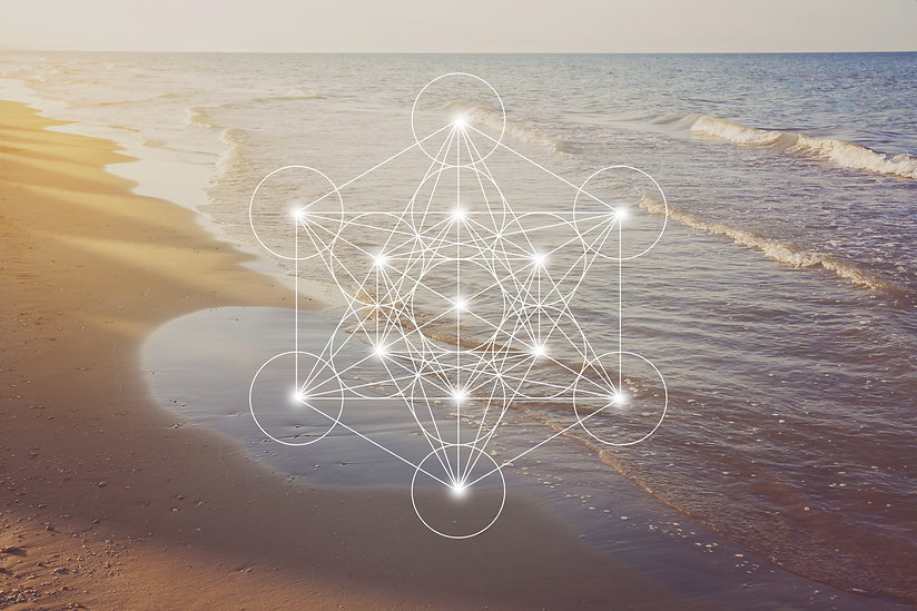 Metatron cube with the Adriatic sea coast at golden romantic sunset time .jpg