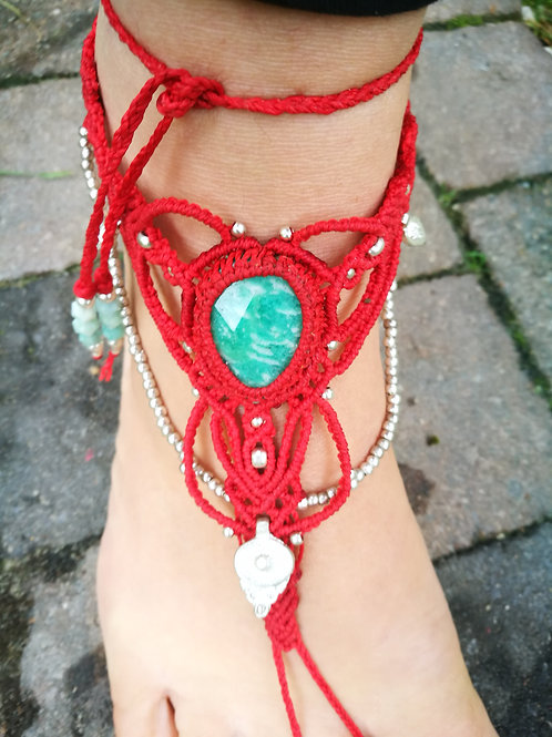 Agni Amazonite Foot Jewel Macrame