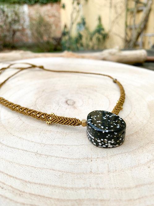 Tarapatha Ocean Jasper Design Micromacrame Necklace