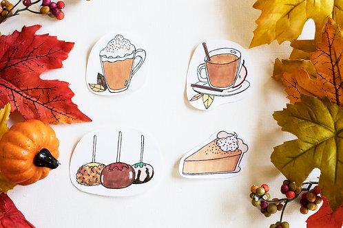 """""""Autumn Sweet Treats"""" Illustration Handmade Stickers"""