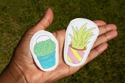 Cutesy Cactus Handmade Stickers (2)