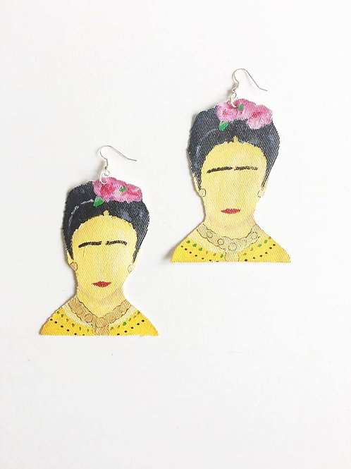"""Te Amo, Frida"" Frida Kahlo Handmade Earrings"