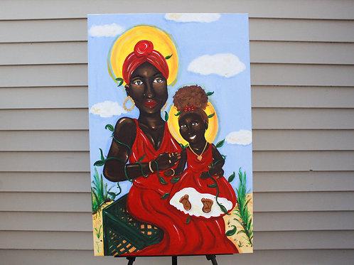 """Concrete Rose Madonna & Child"" Painting"