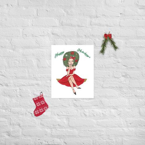 ''Happy Holidays'' Christmas Illustration Poster