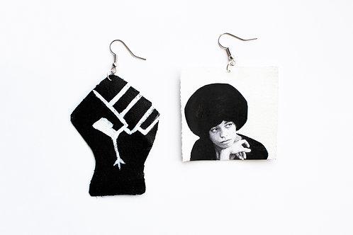Angela Davis Black & White Black Power Fist Earrings