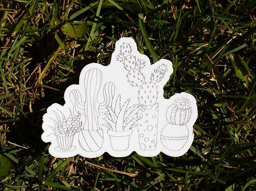 Succulent Plant Black & White Outline Illustration Die Cut Sticker