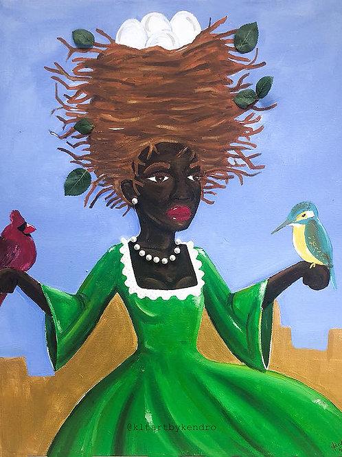 """Bird Lady"" Black Woman Bird's Nest Hair Acrylic Painting"