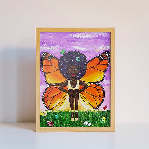 """Butterina"" Butterfly Ballerina Melanin Natural Hair Black Girl Acrylic Painting"