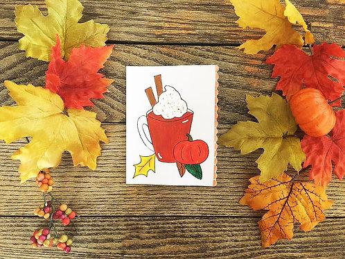Pumpkin Spice Latte Handmade Autumn Greeting Card