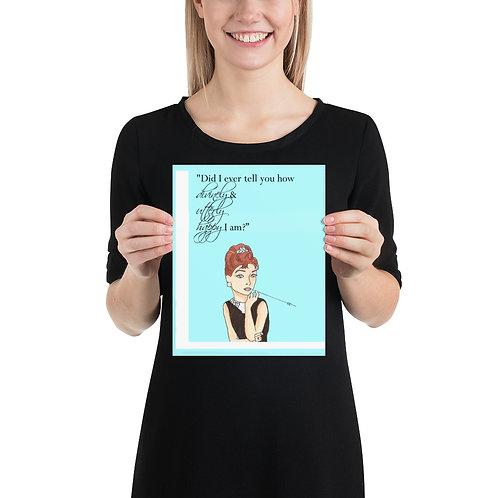 "Audrey Hepburn ""Utterly Happy""  Illustration Poster Print"