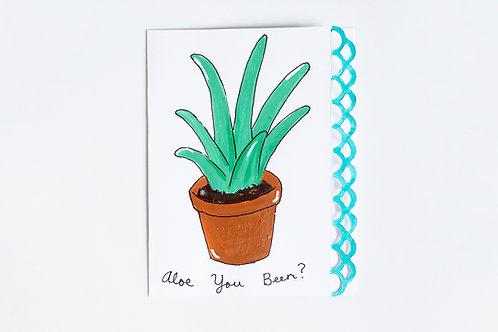 """Aloe You Been?"" Handmade Aloe Vera Plant Greeting Card"