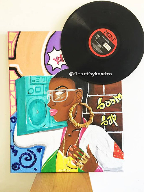 """The 80's Baby Hip Hop Head"" Original Multi-Media Painting"