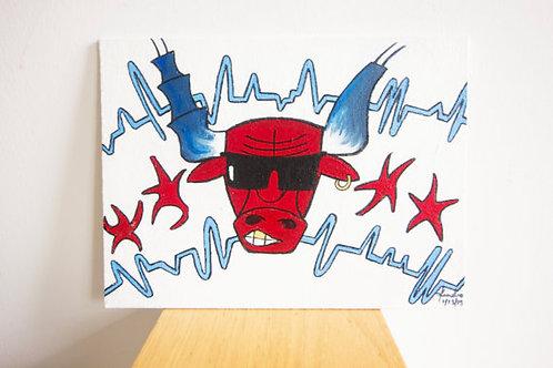 """Bulls Nation"" Benny the Bull Chicago Bulls Painting"