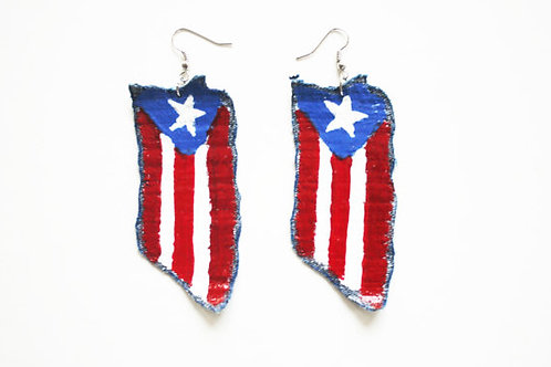 Puerto Rico Red, White, & Blue Flag Earrings | Boricua, Morena, Latina